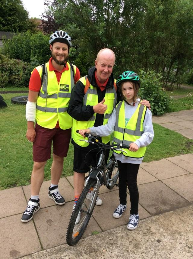 Youngster Annabelle Rostance, 11,  with the Bikeright team learning about bike safety in preparation for high school this autumn