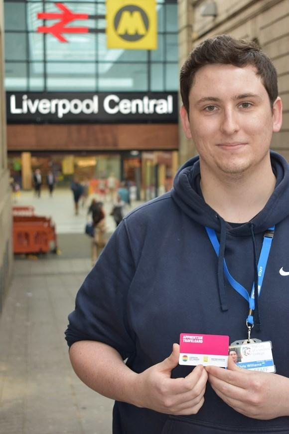 Chris Williams, 23, uses his Apprentice Travelcard to access half-price bus travel between his home in Garston and the City of Liverpool College