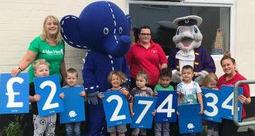 Staff and children from Dunkys Day Nurseries with cheque for £2,273.34 that was raised for Alder Hey. Picture courtesy of Joanna Davies-Bate, nursery manager