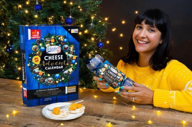 Annem pictured with the Cheese Advent Calendar and Cheese Cracker