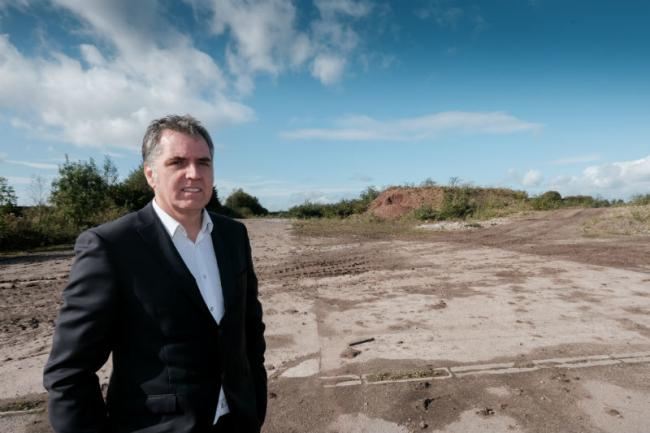 Steve Rotheram at the Moss Nook brownfield site in St Helens