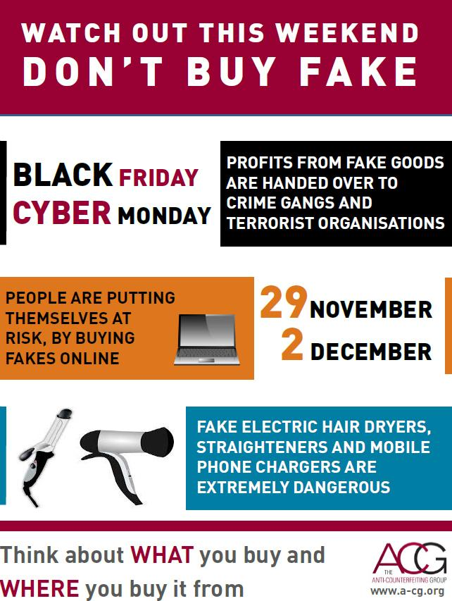 Anti-Counterfeiting Group Black Friday / Cyber Monday graphic as part of awareness campaign