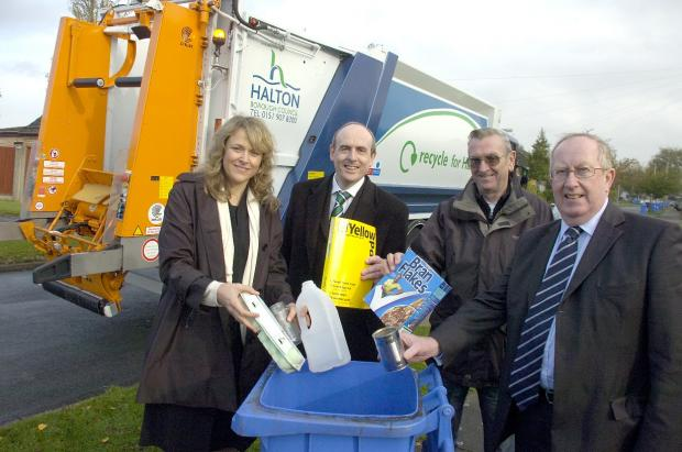 From left, Sue Igoe, UK managing director of RecycleBank, Clr Phil Harris, Thomas Viggers and council leader Tony McDermott