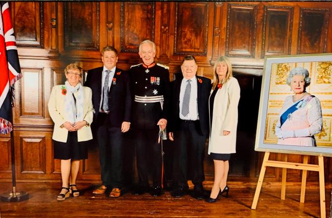 Theresa Wright (Jeff's mother-in-law), Jeff Scholes, Lord Lieutenant of Cheshire David Briggs MBE, David Scholes (Jeff's father), Joanne Scholes (Jeff's wife), at the investiture event at Tatton Hall in November