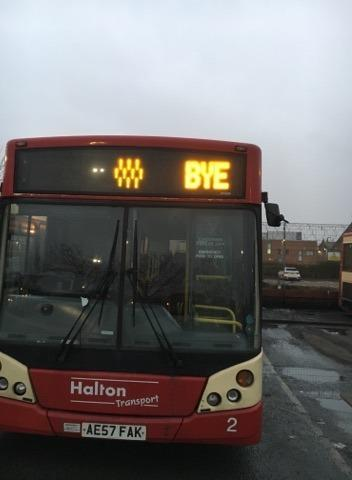 A Halton Transport bus with a farewell message on the brink of the company\'s collapse. Photo courtesy of Kav Kavanagh.