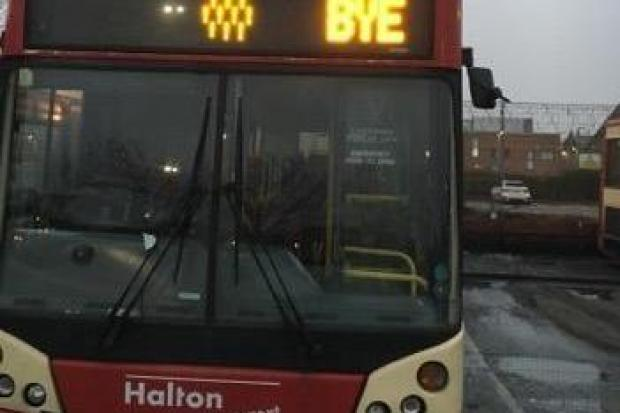 A Halton Transport bus with a farewell message. Photo courtesy of Kav Kavanagh.