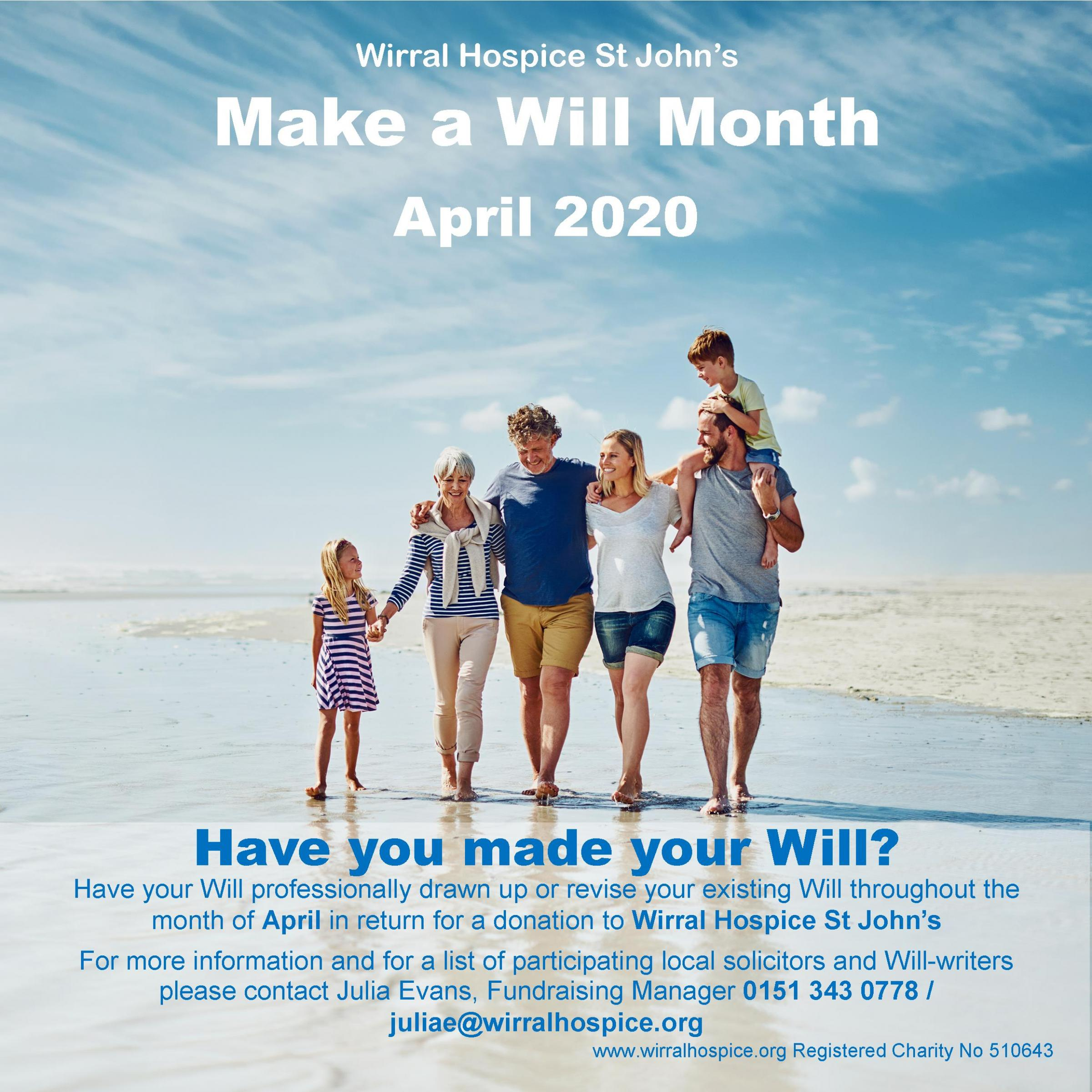 Wirral Hospice St John's Make a Will Month