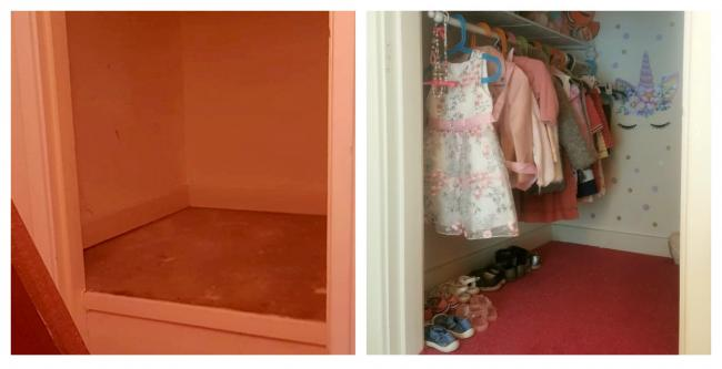Before and after pictures of the airing cupboard transformed into a walk-in wardrobe