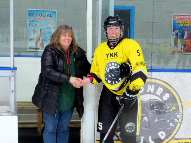 Leen de Decker receives the Edith Smith Memorial MVP award for her display against Grimsby Wolves. Picture by Paul Breeze