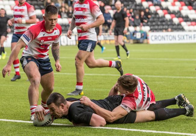 Try time for Widnes Vikings against Oldham. Pictures: Richard Walker