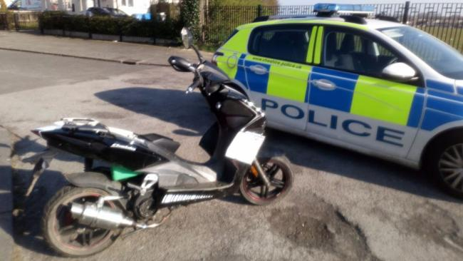 The seized moped Pic: Widnes Police