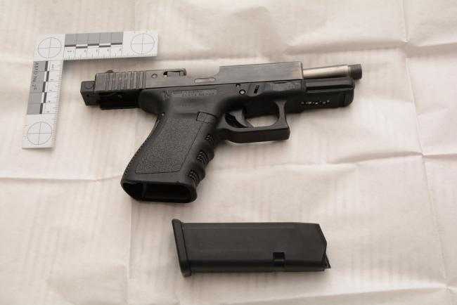 A handgun seized as part of Operation Venetic
