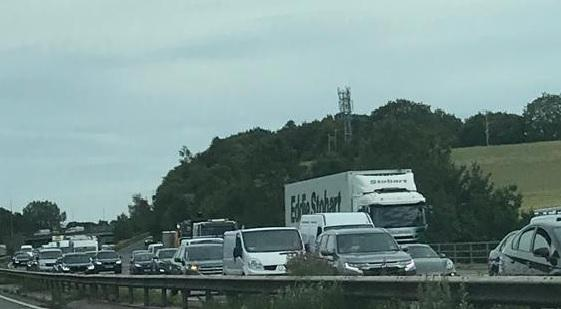 Heavy traffic on the M56 this lunchtime