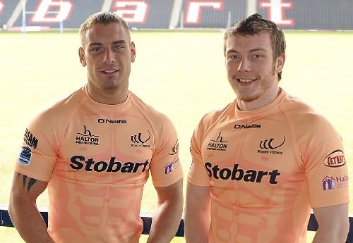 Chris Gerrard and Paddy Flynn show off the nude kit