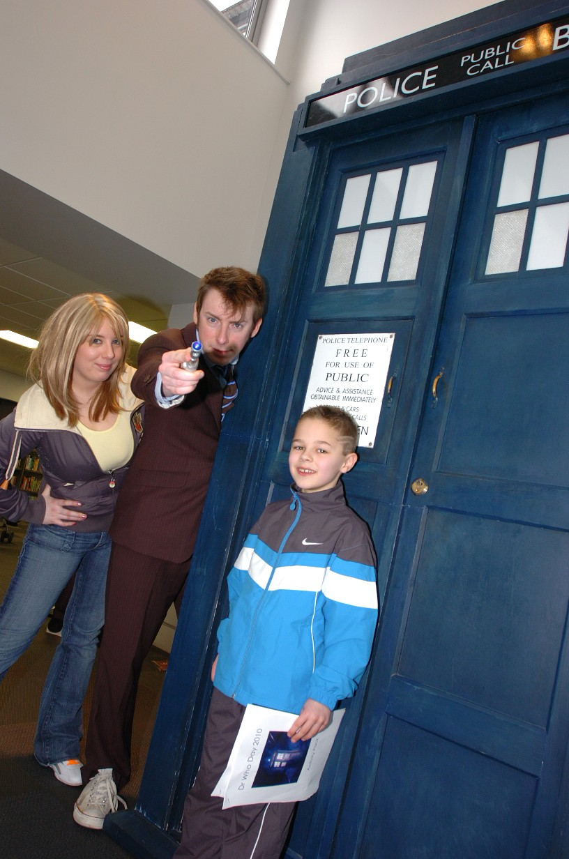 Louis Jolly, aged eight, meets Dr Who and his assistant Picture: Ian Park IPR20310
