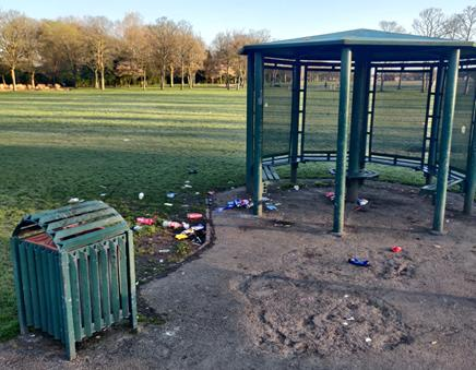 Litter in Victoria Park in Widnes on Good Friday