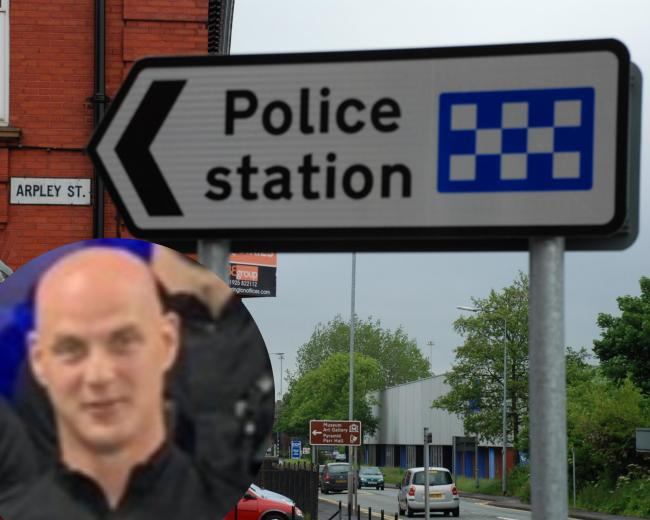 Police sergeant Stuart Berry, pictured inset, was based at Warrington Police Station