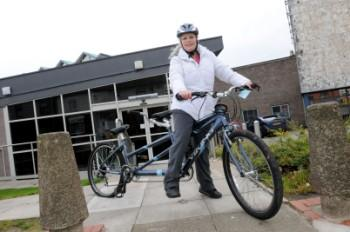 Lesley Allen collects her stolen tandem from Widnes Police Station Picture: Dave Gillespie DGA241111