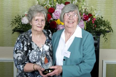 Joan Cubbon and Betty Morris at the awards ceremony in London