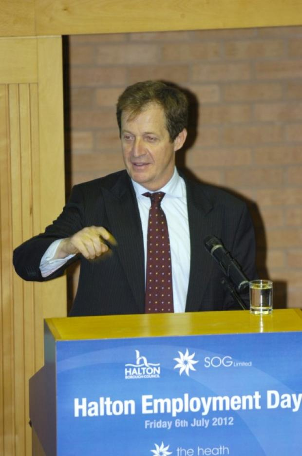 Alastair Campbell addresses a Runcorn conference on employment