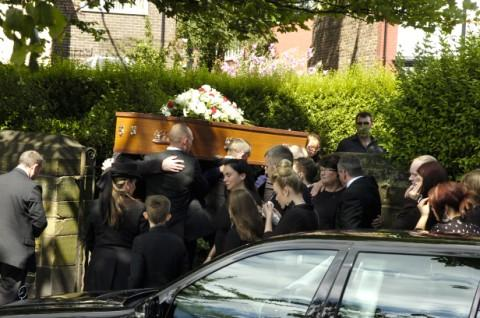 Lewis's coffin is carried into St Mary's Church Picture: Ian Park IPA2371