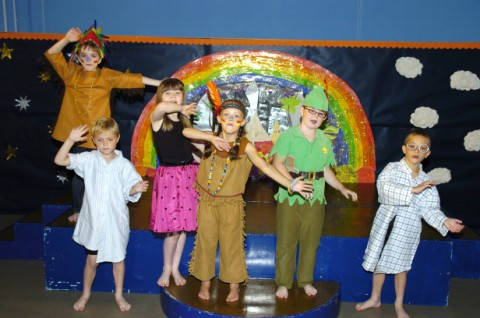 From left, Zak Smith, Joshua Williams, Katie Pattern, Holly Hayes, Emily Armostrong and Jack Wheatly present Peter Pan