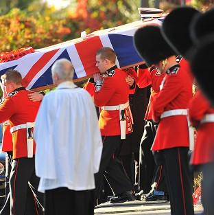 The funeral of L/Cpl James Hill at Redhill, Surrey, in October 2009