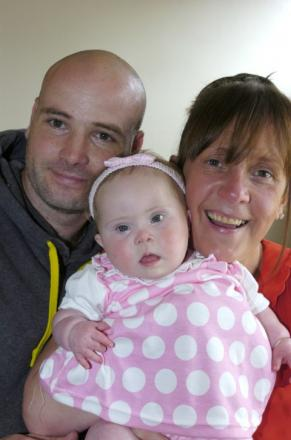 Molly Kenwright with her parents, Gareth and Tracy