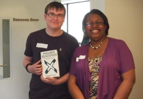 Ryan Burns with top author Malorie Blackman