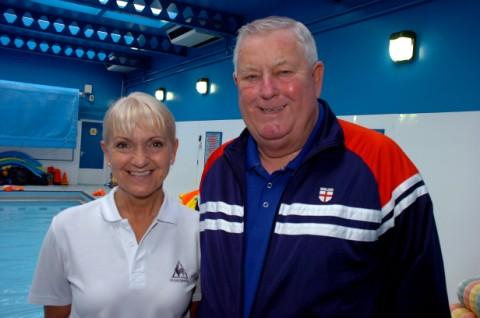 From left, swimming coach, Eileen Campbell, and club founder, Roy Radley