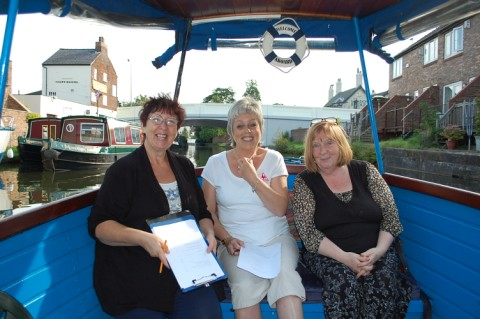 From left, Sue Roberts, senior care assistant, Jenny Hewitt, patient, and Chris Bullock, a senior day hospice nurse on a boat trip