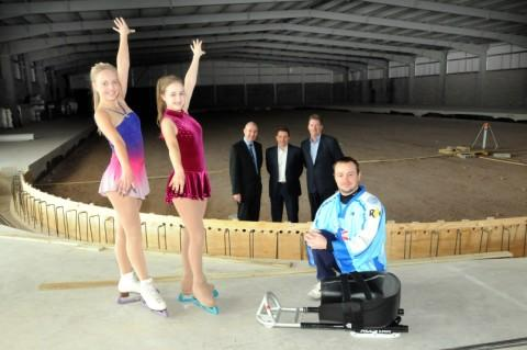 Skaters Amy Nicholson, aged 17, Charlotte Ryan, aged 16, Council leader Rob Polhill, managing director Mark Johnson, group operations manager Vernon Neil and Team GB sledge hockey player Steve Midghall, aged 33 Picture:Dave Gillespie DGB210912