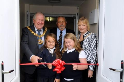 Halton Mayor and Mayoress open Halebank Youth Club with chairman Bernie Allen, and, front, Bethany Kenny, aged eight, and Ellie Jay, aged 10