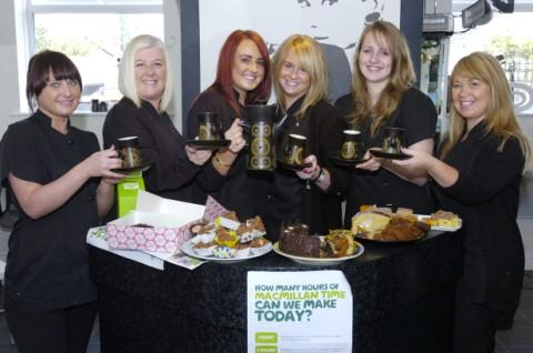 From left, Jenny Smart, Claire Munn, Abbey Lamb, Melissa Cain, Amy Greenway, and Joanne Claire serve coffee and cakes