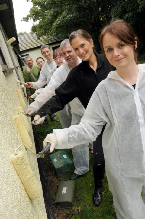 Halton Housing Trust painters, from front, L