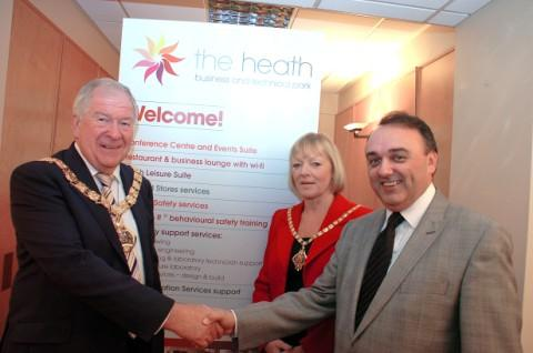 Halton's Mayor and Mayoress, Clrs Tom and Angela McInerney with John Lewis, managing director of SOG Limite