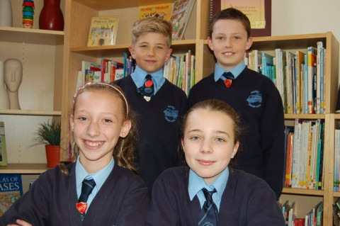 Rear, from left, Emily Walker, Sian Dennett, front, from left, Billy Jones and Euan Daley