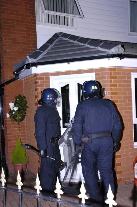 Police on the drugs raid in Runcorn