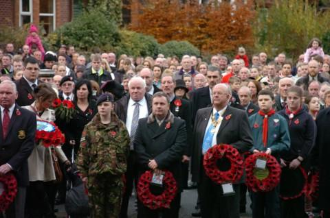 Crowds pay their respects at Runcorn Cenotaph