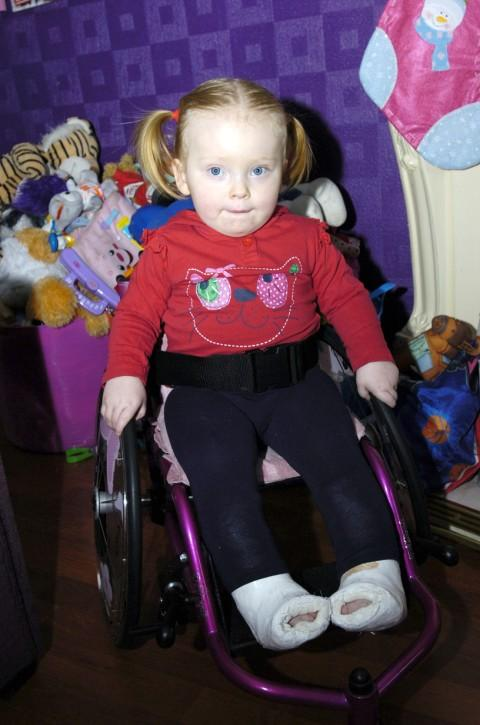 Rosalie in her new wheelchair