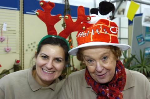Louise Nulty and Mary Davies create festive fun in the glasshouse