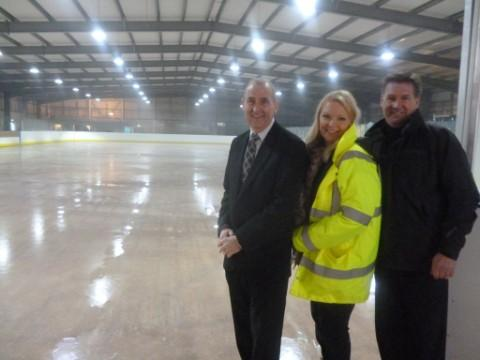 Halton Council leader Clr Rob Polhill, Silver Blades general manager Anney Williams, and group operations manager Vernon Neil