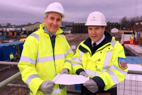Halton Council leader Clr Rob Polhill and Phil McKenna from Scottish Power at the site of the new electricity substation
