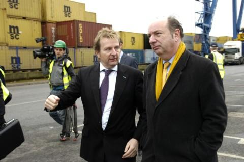 William Stobart, group chief operating officer, shows Transport Minister Norman Baker around Stobart's multimodal gateway in Widnes
