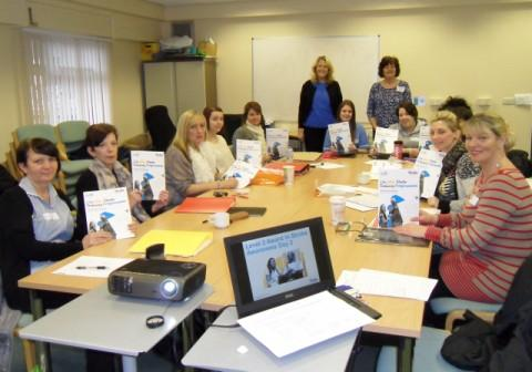 Jane Lewis and Jill Maloney at a stroke training course with care home staff from Widnes