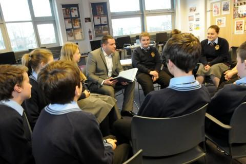 Solicitor Gary Gray talks to students at St Peter & Paul Catholic College