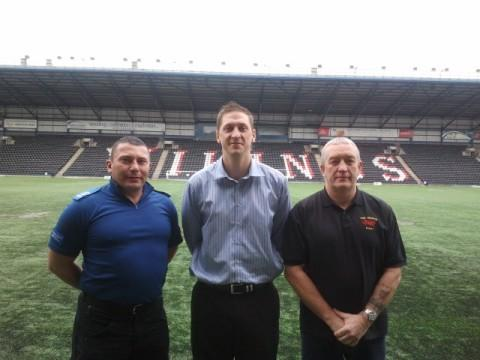 PCSO Ian Leadbetter, John Caldwell and Chris Headon at the stadium