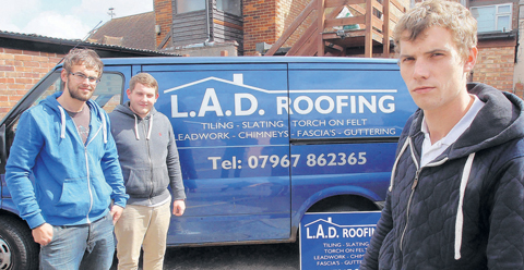 Joint enterprise – Daniel Denton-Ridgewell, right, with business partners Lewis Parker and Adam Swinbourne, who set up LAD Roofing