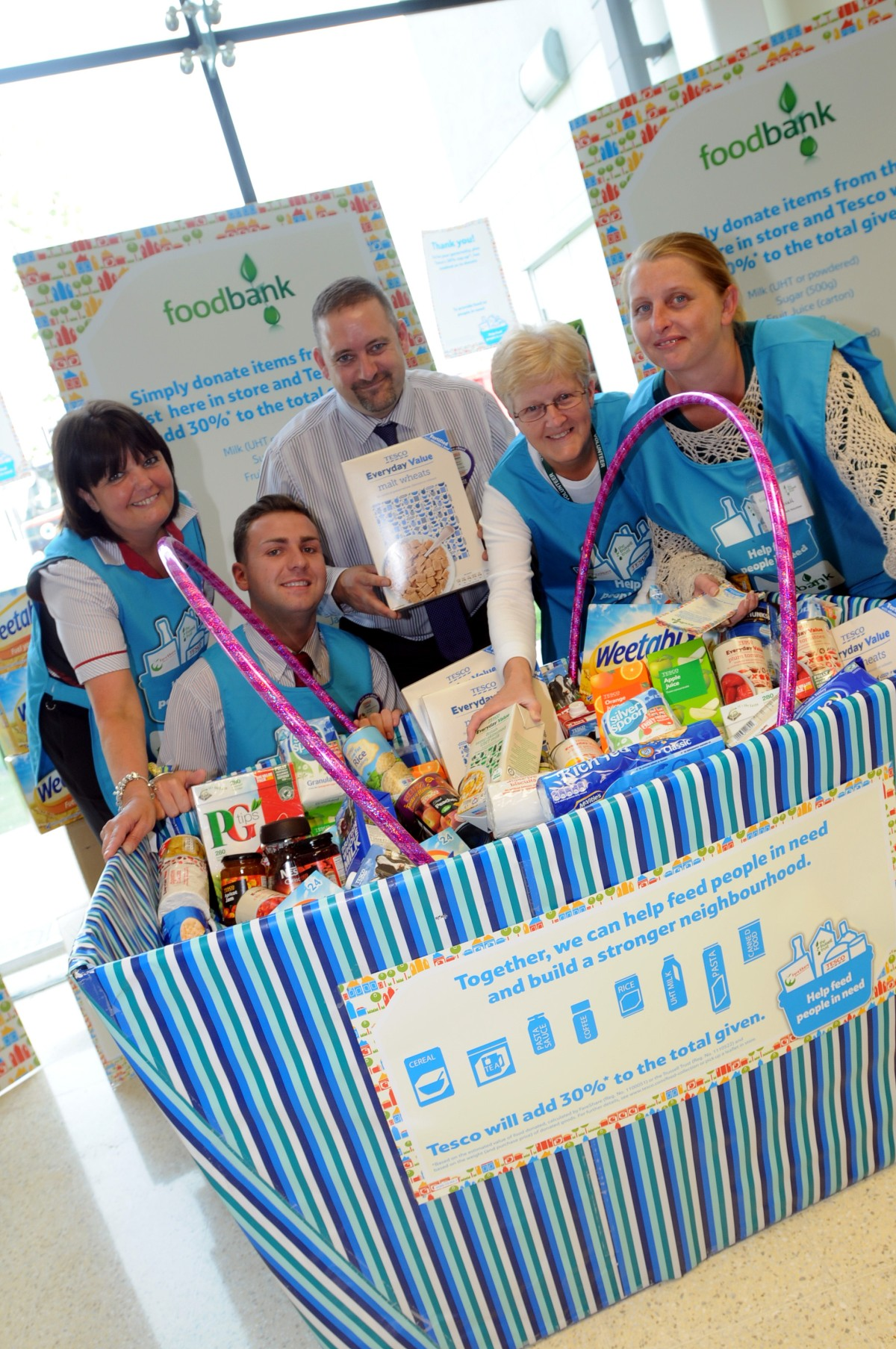 Widnes Foodbank volunteers collect donations in Tesco