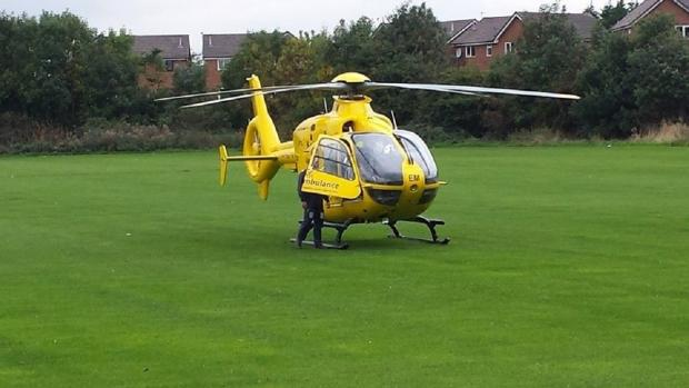 Man airlifted to hospital with serious crush injuries after accident in Widnes